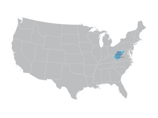 vector map of United States with indication of West Virginia