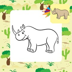 Cartoon rhino. Coloring page. Vector illustration.