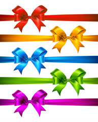 Set of color gift bows with ribbons. Vector illustration
