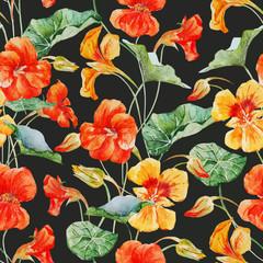 Watercolor nasturtium flower pattern