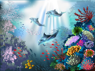 Poster Submarine The underwater world with dolphins and plants