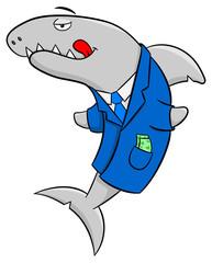 lächelnder (gieriger) Finanz Hai