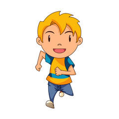 Kid running, front view