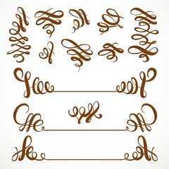 Calligraphic vintage curls elements set isolated on a white back