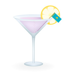 Cocktail Glass With A Flag Of Kazakhstan