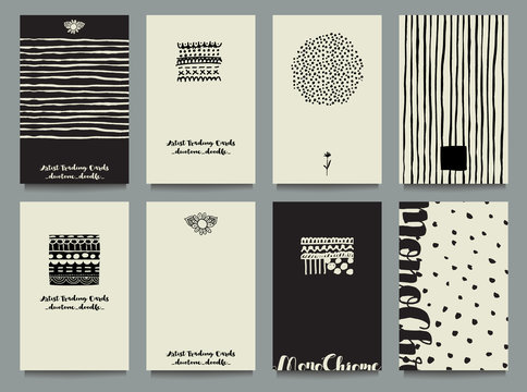 Artist Trading Cards Monochrome - Monochrome artist trading cards, with hand drawn doodle elements, calligraphy and in black and white, can be used as whimsical, offbeat business cards
