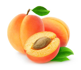 Fresh apricots isolated on white, with clipping path