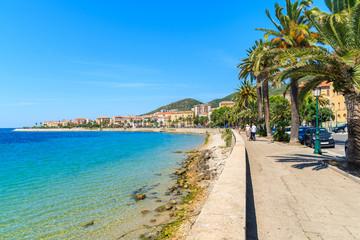 Coastal promenade with palm trees in Ajaccio town, Corsica island, France Wall mural
