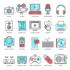 Abstract vector set of line color icons for creative and user generated content culture. Modern style illustrations and design elements for multimedia devices and electronic services.