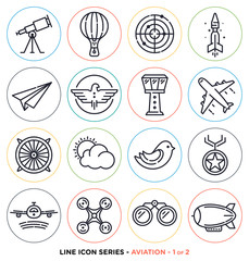 Aviation line icons set. Vector collection of everything up in the air.