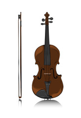 Violin and bow front view