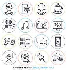 Social media line icons set. Vector collection of investment online networking symbols.