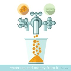flat concept business icon gold coins flows from the water tap to glass