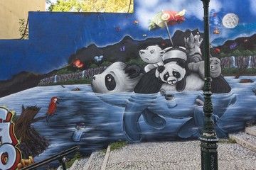 Panda Graffiti in Lisbon, in Calcada do Lavra public Street