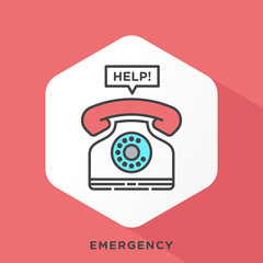 Phone icon with dark grey outline and offset flat colors. Modern style minimalistic vector illustration for emergency telephone number, emergency service, dialing.