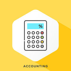 Calculator icon with dark grey outline and offset flat colors. Modern style minimalistic vector illustration for accounting software, accounting management and software.