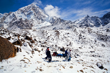 Emergency evacuate in the Himalayan mountains, Nepal