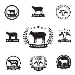 Cow beef sihouette symbol for logo stamp, design element