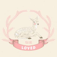Vintage vector illustration deer made in sketch style