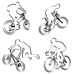 bicyclists outline - vector