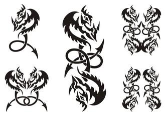 Tattoos of dragon symbols with an arrow