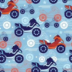 Vector Motorcycles Blue Red Seamless Pattern. Fast Risky Speed