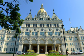 Connecticut State Capitol, Hartford, Connecticut, USA. This building was designed by Richard Upjohn with Victorian Gothic Revival style in 1872.