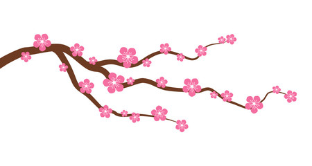 Peach or cherry blossom tree branch with flowers flat vector graphic Fototapete