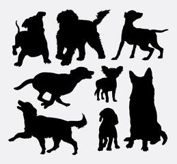 Dog action silhouettes