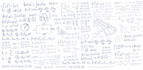 Handwritten formulas and equations on white background
