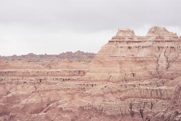 The rocky landscape of Badlands National Park in the Black Hills of South Dakota, USA.