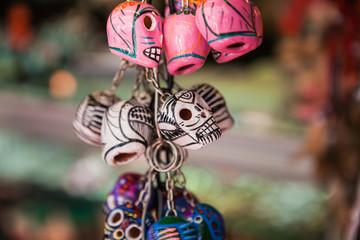 Colorful skulls mexican souvenirs