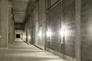 Empty industrial garage room interior with concrete