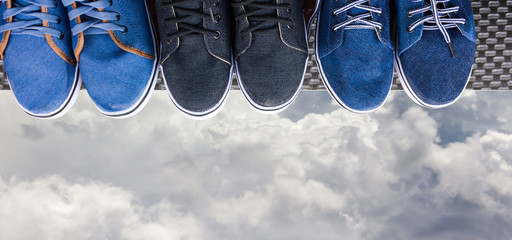 jean canvas shoes on top of view point