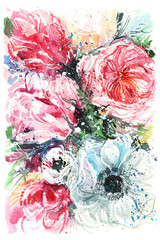 white poppies and tulips/ bouquet of flowers/ watercolor painting
