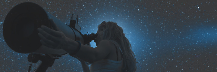 Stargazing through a telescope. Milky Way stars are digital illustration, no elements of NASA or other third party.