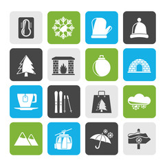 Silhouette Winter, Sport and relax icons - vector icon set