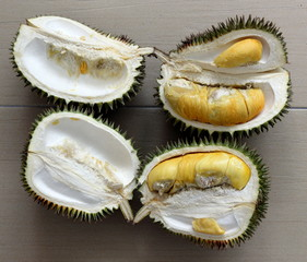 Durian Is a Tropical Fruit with Strong Smell Popular in South East Asia (Looking Down)