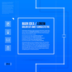 Square text frame template in blueprint style. EPS10