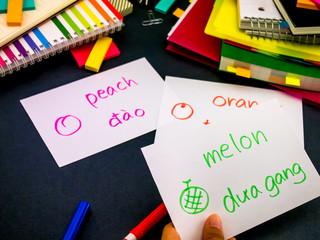 Learning New Language Making Original Flash Cards; Vietnamese