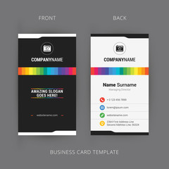 Vector Modern Creative and Clean Business Card Template with Rainbow Element
