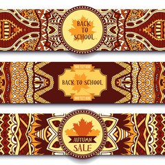 Festive autumn ornamental vector banner set