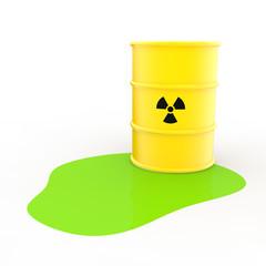 3d radiation symbol barrel and green liquid