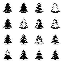 Vector black christmas tree icon set