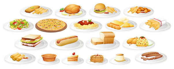 Different kind of food on plates