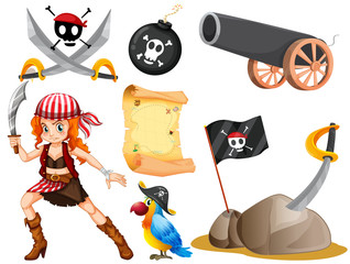 Female pirate and other symbols