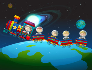 Children riding train in space
