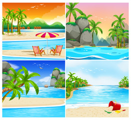 Four scene of beach and island