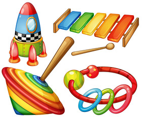 Colorful wooden toys set