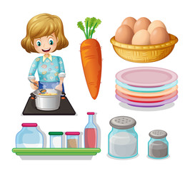 Woman cooking and other ingredients